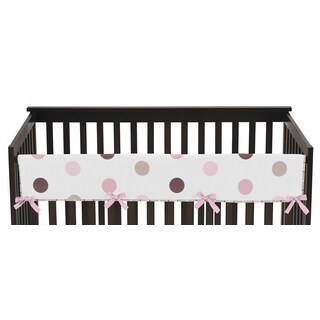Sweet Jojo Designs Mod Dots Collection Pink and Chocolate Long Crib Rail Guard Cover