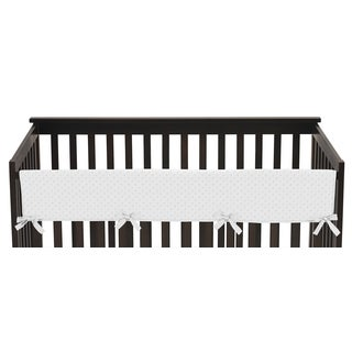 Sweet Jojo Designs White Minky Dot Collection Microsuede 52-inch x 18-inch Long Crib Rail Guard Cover
