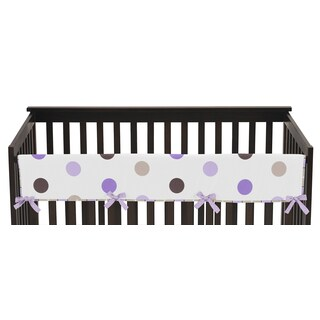 Sweet Jojo Designs for Purple and Chocolate Mod Dots Collection Long Crib Rail Guard Cover