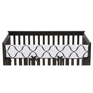 Sweet Jojo Designs Black/White/Purple Princess Collection Cotton/Microfiber Long Crib Rail Guard Covers (Set of 2)