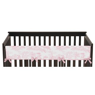 Sweet Jojo Designs Pink French Toile Collection Cotton Long Crib Rail Guard Cover
