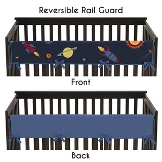 Sweet Jojo Designs Long Crib Rail Guard Cover for Space Galaxy Collection