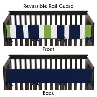 Sweet Jojo Designs Navy Blue and Lime Green Stripe Collection Long Crib Rail Guard Cover