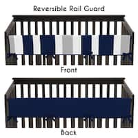 Sweet Jojo Designs Stripe Collection Navy Blue and Gray Long Crib Rail Guard Cover