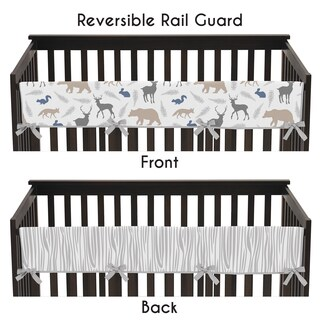 Sweet Jojo Designs Woodland Animals Collection Long Crib Rail Guard Cover