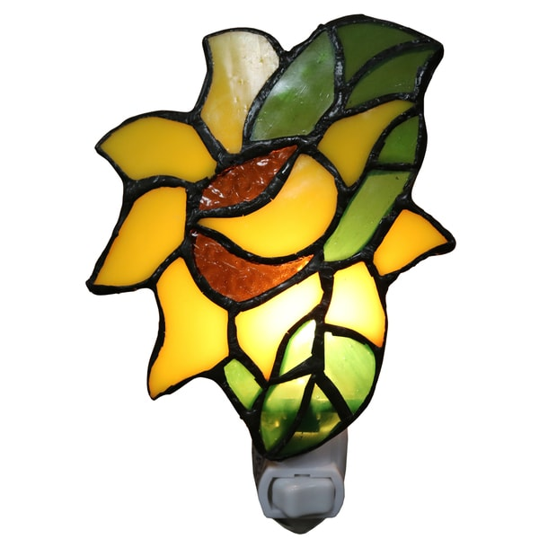 Plug In Tiffany Wall Sconces : Fae 1-light Multicolored Glass Sunflower Tiffany-style Plug-in Wall Sconce with Bulb - Free ...