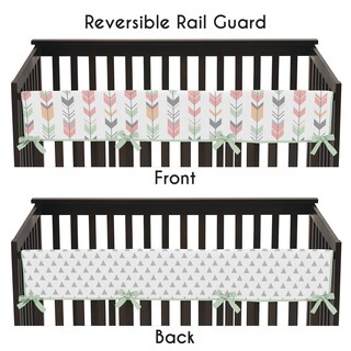 Sweet Jojo Designs Mod Arrow Collection Coral/Mint Microfiber Long Crib Rail Guard Cover