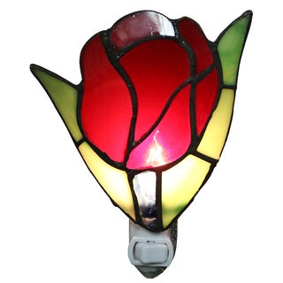 Francoise 1-light Red Stained Glass Tulip 6-inch Plug-in Wall Sconce with Bulb