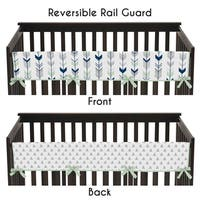 Sweet Jojo Designs Grey and Mint Mod Arrow Collection Long Crib Rail Guard Cover