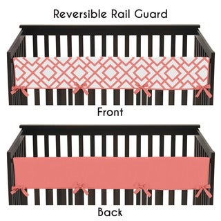Sweet Jojo Designs White and Coral Modern Diamond Collection Long Crib Rail Guard Cover