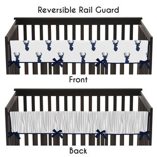 Sweet Jojo Designs Long Crib Rail Guard Cover for the Navy and White Woodland Deer Collection
