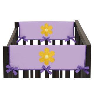Sweet Jojo Designs Purple Cotton, Brushed Microfiber Side Crib Rail Guard Covers for Danielle's Daisies Collection (Set of 2)