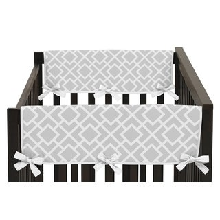 Sweet Jojo Designs Grey and White Diamond Collection Side Crib Rail Guard Covers (Set of 2)