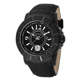 Stuhrling Orignal Mens Swiss Quartz Gen-X 543 Black Leather Strap Watch