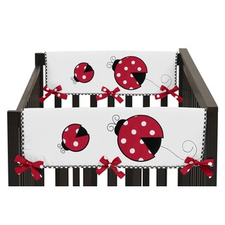 Sweet Jojo Designs Polka Dot Ladybug Collection Side Crib Rail Guard Covers (Set of 2)