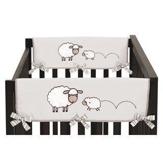 Sweet Jojo Designs Cotton and Brushed Microfiber Fabrics Crib Rail Guard Covers for Little Lamb Collection (Set of 2)