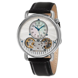 Stuhrling Orignal Men's Quartz With Decorative Automatic Display Black Leather Watch