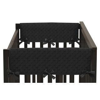 Sweet Jojo Designs Black Minky Dot Collection Multicolored Microsuede Side Crib Rail Guard Covers (Set of 2)