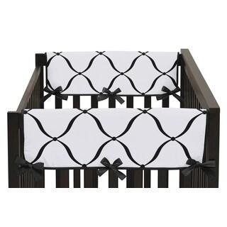 Sweet Jojo Designs Black, White, and Purple Princess Collection Designer Print Crib Rail Guard Covers (Set of 2)
