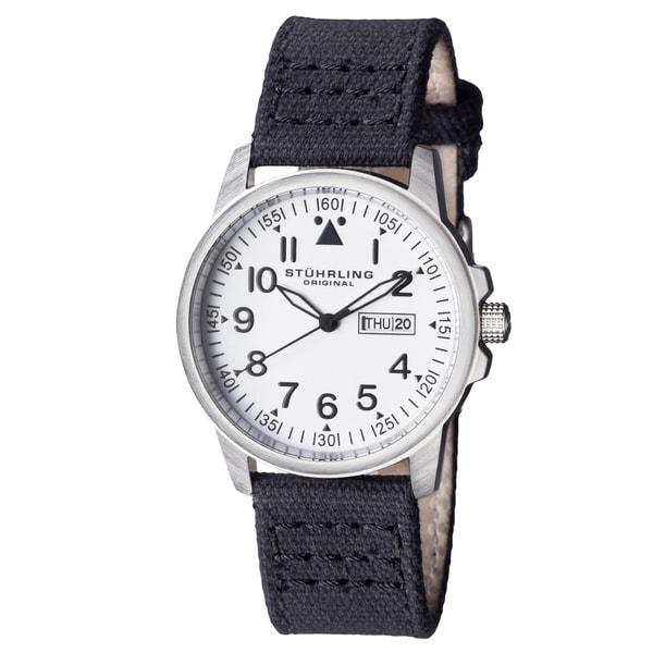 Stuhrling Original Men's Quartz Black Canvas Strap Watch
