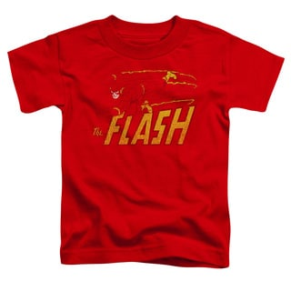 DC/Flash Speed Distressed Short Sleeve Toddler Tee in Red