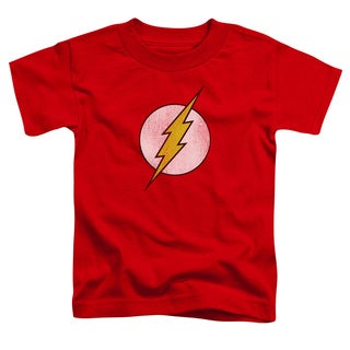 DC/Flash Logo Distressed Short Sleeve Toddler Tee in Red