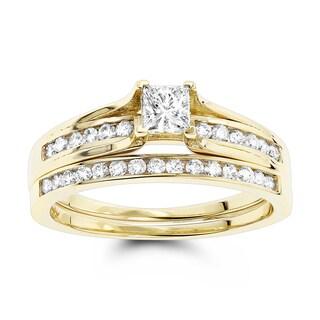 Luxurman 14k Gold 1 1/6ct TDW Round and Princess Diamond Bridal Set (G-H, SI1-SI2)
