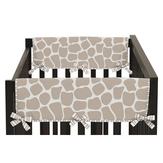 Sweet Jojo Designs Giraffe Collection Taupe/Off-white Cotton/Microfiber Side Crib Rail Guard Covers (Set of 2)