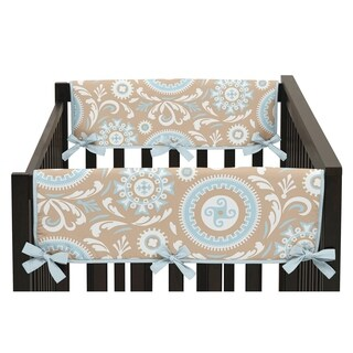 Sweet Jojo Designs Blue and Taupe Hayden Collection Side Crib Rail Guard Covers (Set of 2)