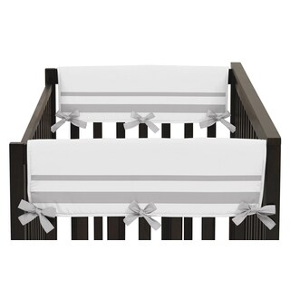 Sweet Jojo Designs White and Grey Hotel Collection Crib Rail Guard Covers (Set of 2)