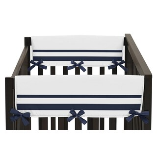 Sweet Jojo Designs White and Navy Hotel Collection Side Crib-rail Guard Covers (Set of 2)
