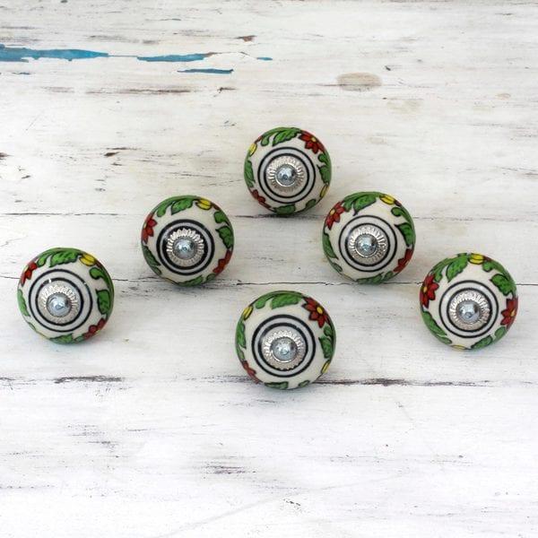 Handmade Set of 6 Ceramic 'Kitchen Garden' Cabinet Knobs (India)