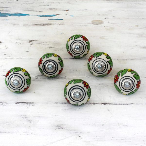 Set of 6 Handcrafted Ceramic 'Kitchen Garden' Cabinet Knobs (India)