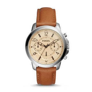 Fossil Women's ES4039 Gwynn Chronograph White Dial Brown Leather Watch