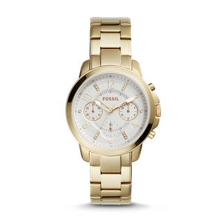 Fossil Women's ES4037 Gwynn Chronograph White Dial Gold-Tone Stainless Steel Bracelet Watch