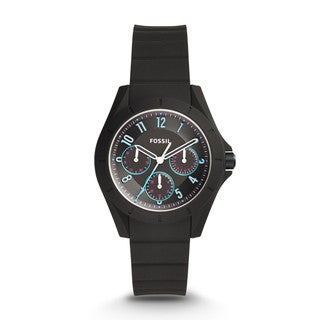 Fossil Women's ES4063 Poptastic Sport Multi-Function BLack Dial Black Silicone Watch