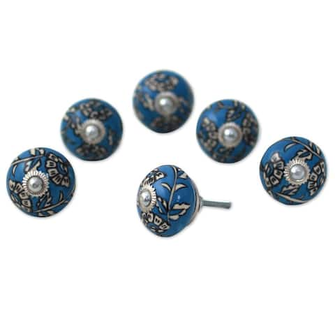 Set of 6 Handcrafted Ceramic 'Charming Blue Flowers' Cabinet Knobs (India) - 2