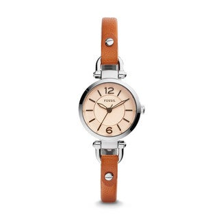 Fossil Women's ES4025 Georgia Mini Analog White Dial Brown Leather Watch