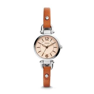 Fossil Women's ES4025 Georgia Mini Analog White Dial Brown Leather Watch