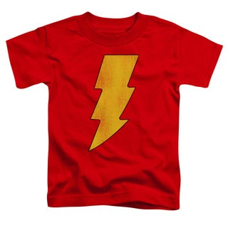 DC/Shazam Logo Distressed Short Sleeve Toddler Tee in Red