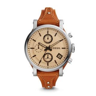 Fossil Women's ES4046 Original Boyfriend Chronograph White Dial Brown Leather Watch