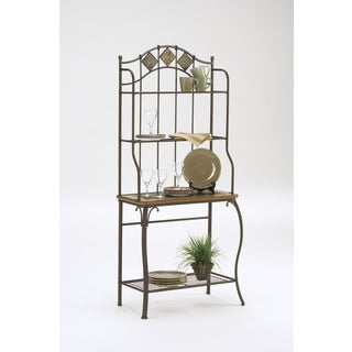 Lakeview Slate Medium Oak Wood and Copper Metal Baker's Rack