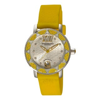 Stuhrling Orignal Women's Swiss Quartz Swarovski Crystal Lady Marina Yellow Rubber Strap Watch