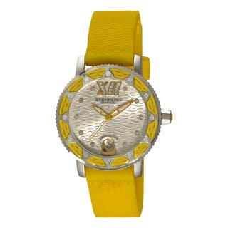 Stuhrling Original Women's Swiss Quartz Swarovski Crystal Elements Lady Yellow Rubber Strap Watch|https://ak1.ostkcdn.com/images/products/12403405/P19223276.jpg?impolicy=medium