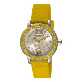 Stuhrling Original Women's Swiss Quartz Swarovski Crystal Elements Lady Yellow Rubber Strap Watch