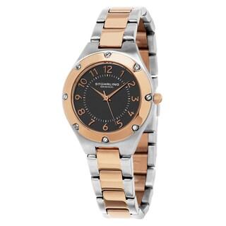 Stuhrling Original Women's Quartz Swarovski Element Crystal Classique Two-tone Stainles Steel Bracelet Watch - silver