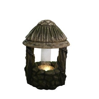 Alpine Polyresin Well Fountain with 6 Yellow LED Lights