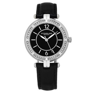 Stuhrling Orignal Quartz Swarovski Crystal Serena Black Leather Strap Watch