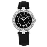 Stuhrling Original Women's Quartz Swarovski Element Crystal Serena Black Leather Strap Watch