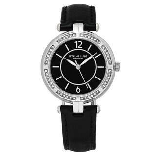 Stuhrling Original Women's Quartz Swarovski Element Crystal Serena Black Leather Strap Watch
